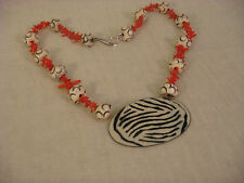 ENAMEL ZEBRA RED CORAL WHITE MIXED NECKLACE ARTISAN HANDCRAFTED STERLING CLASP