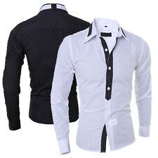 Men's Luxury Stylish Shirts Casual Long Sleeve Slim Fit Tops T-Shirts~