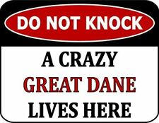 Do Not Knock A Crazy Great Dane Lives Here Laminated Dog Sign