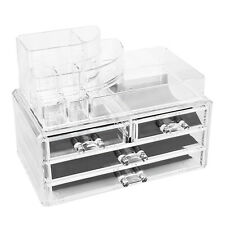 3 TIER ACRYLIC DRAWER MAKEUP ORGANISER COSMETIC CASE JEWELLERY STORAGE BOX