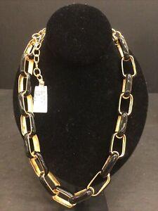 """24"""" Adj. Kenneth LANE Necklace Gold Black Enamel Rectangle Link NEW"""