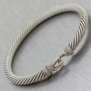 David Yurman Sterling Silver Diamond Hook Bangle Bracelet