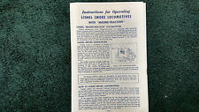 """LIONEL # 2035 SMOKE LOCOMOTIVES WITH """"MAGNE-TRACTION"""" INSTRUCTIONS PHOTOCOPY"""
