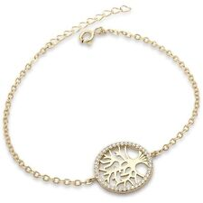 Yellow Gold Plated Cubic Zirconia Tree of Life .925 Sterling Silver Bracelet