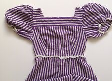 Empire line dress full length Purple and white stripes short sleeve 1970s Vintag