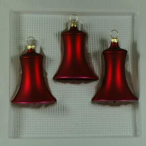 Glocken klein dunkelrot matt Christbaumschmuck Lauschaer Glas das Original