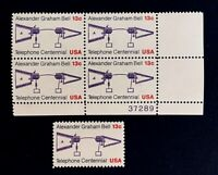 US Stamps, Scott #1683 13c Bell's Telephone Plate Block & single XF/Sup M/NH