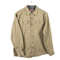 Wrangler Mens Button Comfort Flex Shirt Size M Beige Utility Long Sleeve Stretch