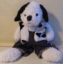 "Bear Works plush stuffed white black COWBOY CLOTHING vest jeans shaggy 17"""