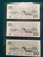 1991 $20 Bank of Canada Bonin Thiessen 3 Consecutive GEM UNC
