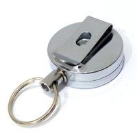 Mode Einziehbar Schlüsselanhänger Stahl Rückstoß Gürtelclip Metall ski  NUF