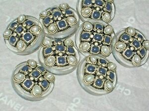 CHANEL  8 METAL CC LOGO FRONT  BLUE GLASS PEARL BUTTON  20 MM / 3/4 '' NEW lot 8
