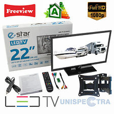 "MOTORHOME CARAVAN BOAT 12V 22"" Inch FHD LED Digital Freeview TV 12 Volt USB PVR"