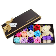 Bath Rose Flower Soap With Floral Scent & White Cute Teddy Bear Set US Seller