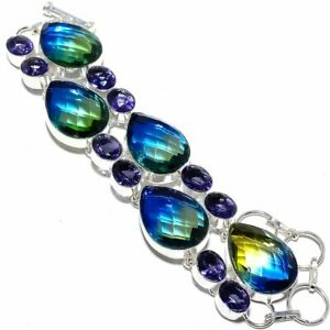Bi-Color Tourmaline, Amethyst 925 Sterling Silver Jewelry Bracelet 7-8""