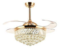 Dimmable Modern LED Chandeliers Crystal Retractable Ceiling Fans Light w/Remote