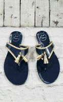 NEW Jack Rogers Thongs Flip Flop Tassel Sandal Navy Blue Gold Women's Size 5