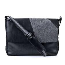FEYNSINN Geneve Messenger Bag Hand Made Genuine Leather Black Office