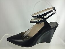 New Coach Ollie Sheep Nappa Black Leather Wedge Pointy Toe Shoes 8 M