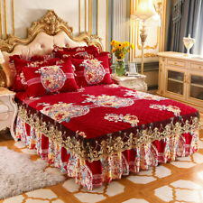 Thicken Quilted Bedspread Printed Lace Plush Velvet Bed Cover King Queen Size
