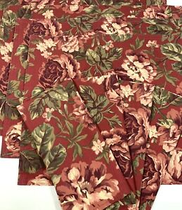Ralph Lauren Chaps Home Burgundy Red Floral Placemats and Napkins Set of 4