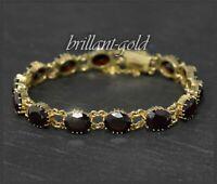 37ct Granat Armband 333 Gold, Handarbeit vom Goldschmied; Vintage von ca. 1950