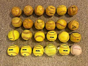 2 DOZEN USED SOFTBALLS , MIXED LOT , 12 INCH 24 Balls Wilson Worth