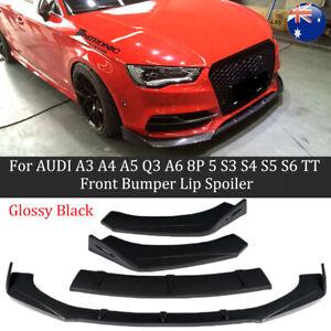 Front Bumper Lip Spoiler For AUDI A3 A4 A5 Q3 A6 8P 5 S3 S4 S5 S6 TT Black AU GT