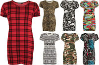 New Womens Plus Print Baggy Oversized Short Sleeve Long T-Shirt Ladies Top 16-26