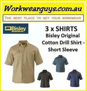 3 x SHIRTS BISLEY WORKWEAR - Original Drill Work Shirt - Short Sleeve BS1433