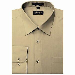 Mens Dress Shirt Plain Tan Modern Fit Wrinkle-Free Cotton Blend Amanti