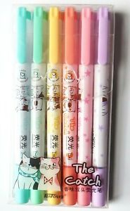Pack of 6 kawaii *The Catch Cats* double ended different nib neon marker pens