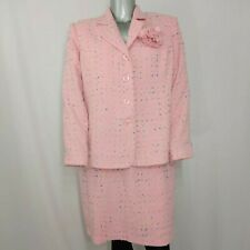 Focus by Shani Skirt Suit 1X Women's Vintage Pink Speckled Tweed Straight Button