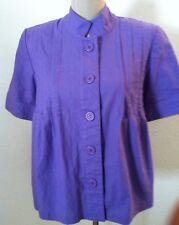 14W New Alison Woods top purple linen pleat peplum button up shirt size