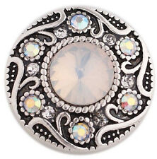 Antiqued Silver Swirl Opal Rhinestone 20mm Charm For Ginger Snaps