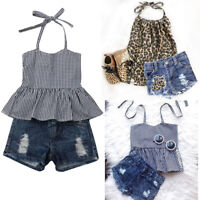 US STOCK Toddler Kids Baby Girl Sleeveless Tops+Denim Shorts Outfits Clothes Set