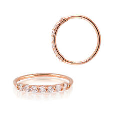 Sterling Silver 925 Rose Gold Plated 7 CZ Accent Hoop Helix Tragus Nose Ring 20G