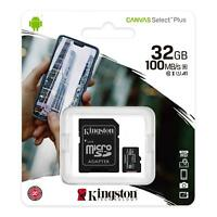 KINGSTON 32GB MICRO SD SDHC CLASS 10 MEMORY CARD PHONE TABLET WITH ADAPTER