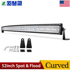 Curved 52inch 700W LED Light Bar Flood Spot Roof Driving Truck RZR SUV 4X4 54''