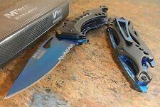 MTech Ballistic BLUE TITANIUM Spring Assisted Bottle Opener Folding Pocket Knife