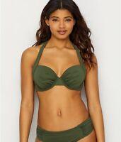 Tommy Bahama DARK TEA LEAF Pearl Solids Halter Bikini Swim Top, US 36D, UK 36D
