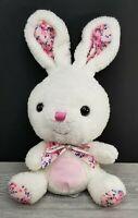 "Hugfun Bunny Rabbit Plush Stuffed Animal Pink White Floral Flower Bow Blue 14"""