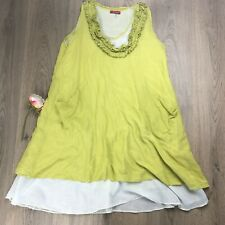 Namastai Womens Top Blouse Tunic Lagenlook Sz 14 Chartreuse Green Cotton A
