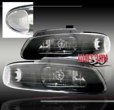 96-00 DODGE GRAND CARAVAN CHRYSLER TOWN COUNTRY VOYAGER CRYSTAL HEADLIGHTS BLACK