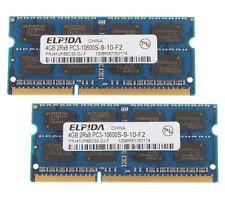 Elpida 8GB 2X 4GB 2RX8 DDR3 1333MHz PC3-10600S SO-DIMM 204-pin RAM Laptop Memory