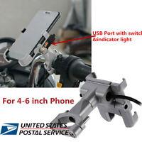 Grey Aluminium Alloy Mobile Phone USB Charger Bracket w/Blue LED Handlebar Mount