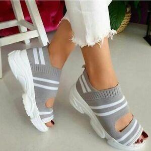 Women's Sandal Open Toe Wedge Platform Shoe Comfortable Outdoor Knitting Sneaker
