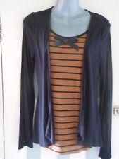 Nuevo con etiquetas marrón y negro de 2 Piezas a rayas Jersey Top & Cardigan Set UK10 EU38 siguiente