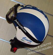 Casco vintage in pelle nome bandiera Italiana tricolore Vespa Moto Guzzi Italia