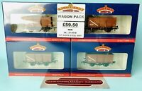 BACHMANN 'OO' 37-451B (X4) 16T SLOPE SIDED STEEL MINERAL WAGON M.W.T BROWN *NEW*